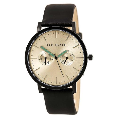 Ted Baker 10024529 Men's Jaknite Gold Tone Dial Black Leather Strap Watch