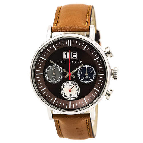 Ted Baker 10024799 Men's Dress Sport Brown Dial Brown Leather Strap Chronograph Watch