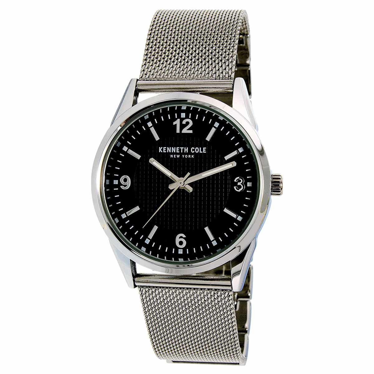 kenneth cole watches on up to 45% off discount watch store kenneth cole 10024820 men s classic quartz black dial stainless steel mesh bracelet watch