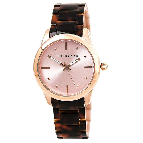 Ted Baker 10025276 Women's Classic Pink Dial Brown Resin Bracelet Watch
