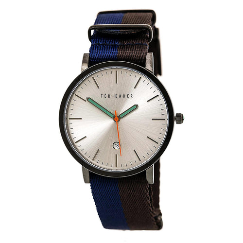 Ted Baker 10026315 Men's Smart Casual Silver Tone Dial Blue & Black Nylon Strap Watch