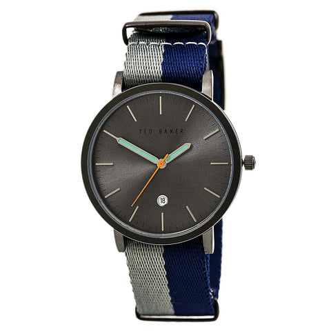 Ted Baker 10026445 Men's Ensorr Silver Tone Dial Black Leather Strap Watch