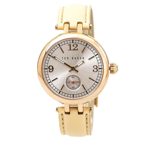Ted Baker 10027794 Women's Smart Casual Silver Tone Dial Beige Leather Strap Watch