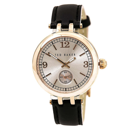 Ted Baker 10027797 Women's Smart Casual Gold Tone Dial Black Leather Strap Watch