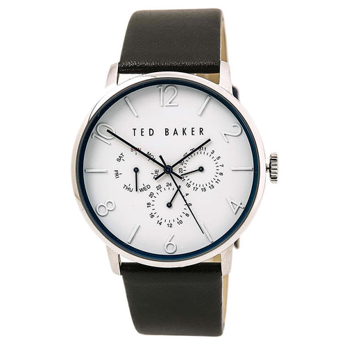 Ted Baker 10029567 Men's Grancan White Dial Black Leather Strap Watch