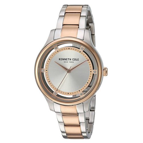 Kenneth Cole 10030798 Women's Transparency Silver Dial Two Tone Rose Gold Steel Bracelet Watch