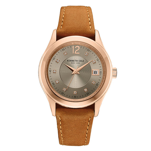 Kenneth Cole 10030801 Women's Classic Silver Dial Rose Gold Steel Brown Leather Strap Watch