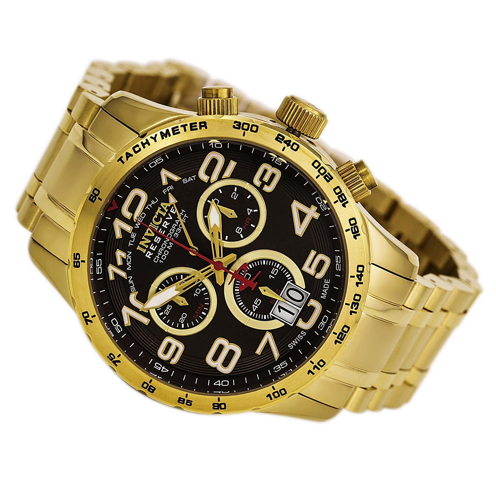 Invicta 10742 Men's Military Reserve Brown Dial Gold Steel Bracelet Chronograph Watch