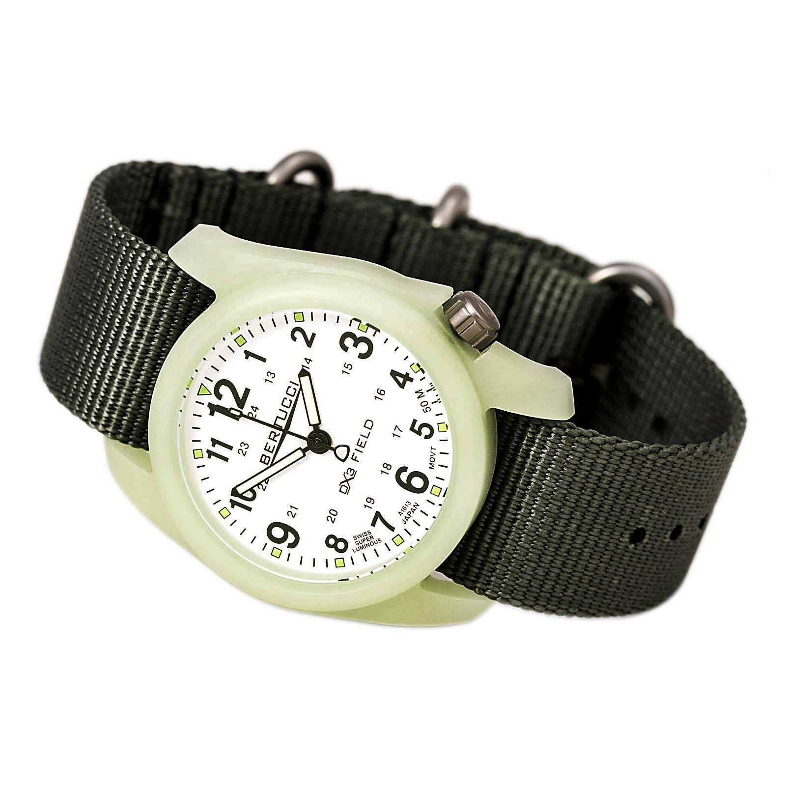 Bertucci 11028 Men's DX3 Field White Dial Defender Drab Olive Green Nylon Strap Watch