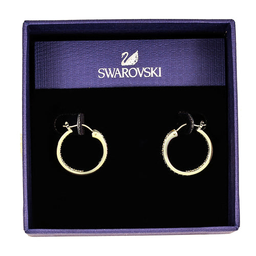 "Swarovski 1172375 Women's Somerset Small Gold-Plated Hoop Clear Crystal Pierced Earrings, 3/4"" Diameter"