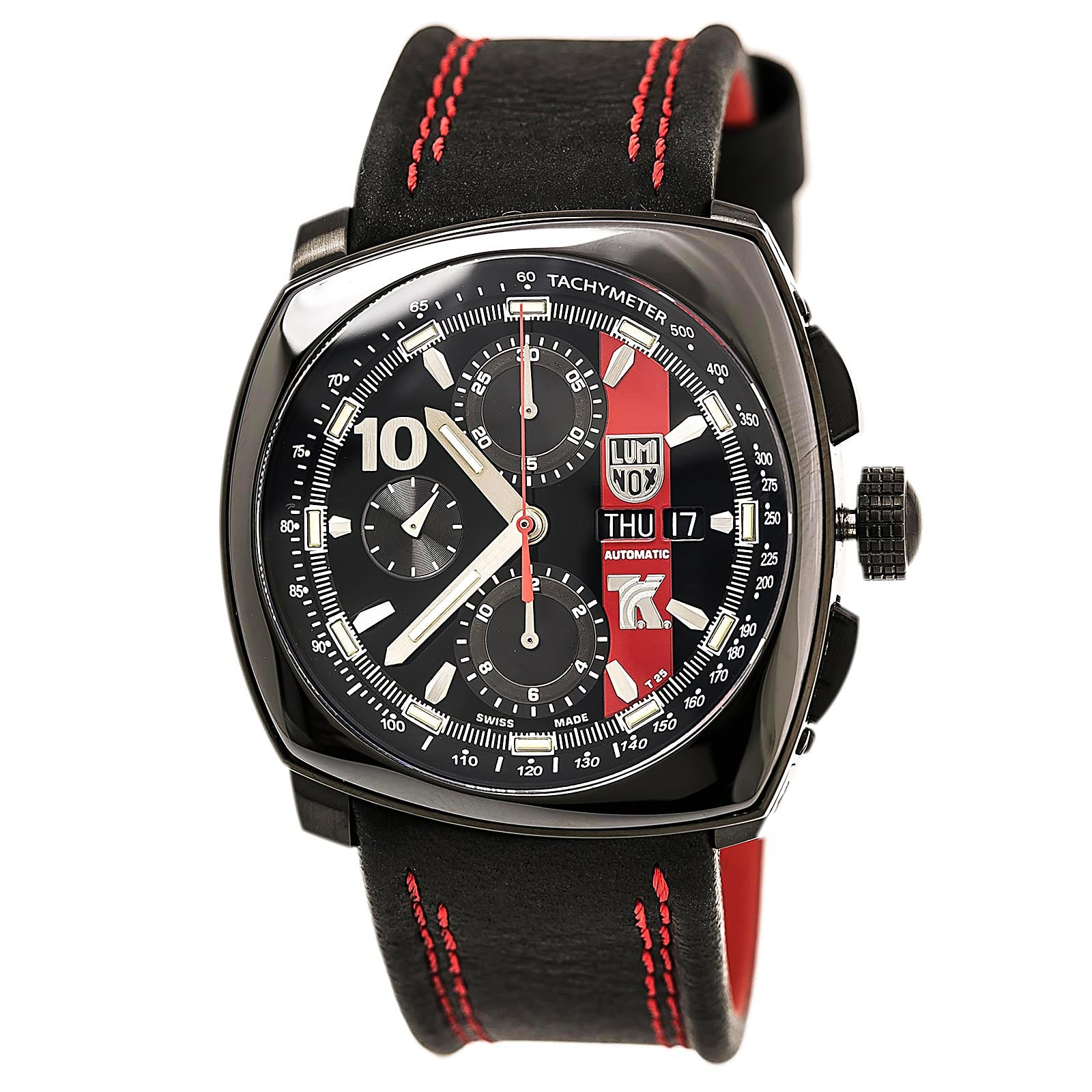 Luminox 1181 Men's Tony Kanaan Valjoux Automatic Black Dial Black Leather Strap Chronograph Watch