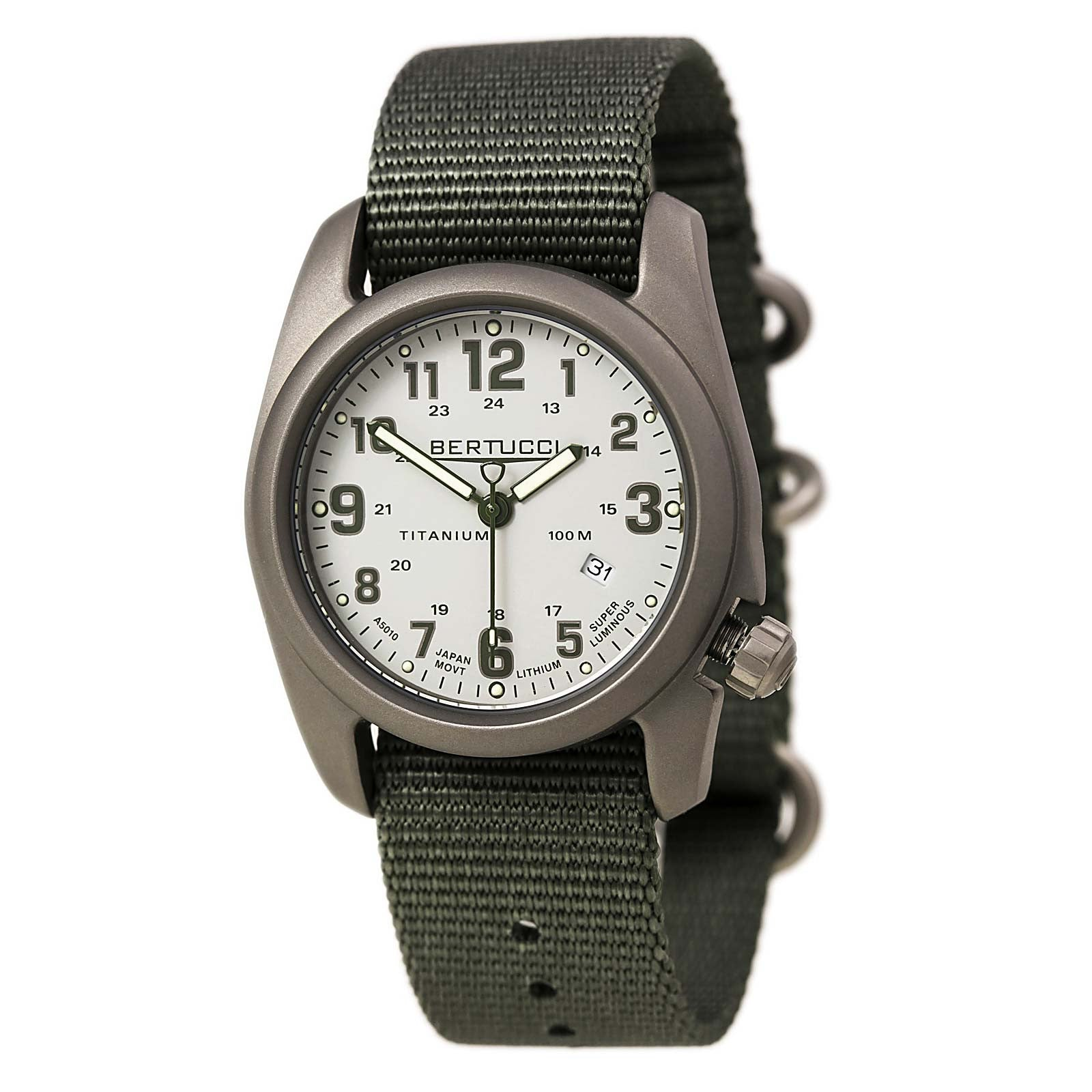 Bertucci 12706 Men's A-2T Field Colors White Dial Defender Drab Nylon Strap Watch