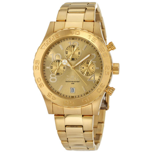 Invicta 1279 Men's Specialty Gold Dial Yellow Gold Steel Bracelet Chronograph Watch