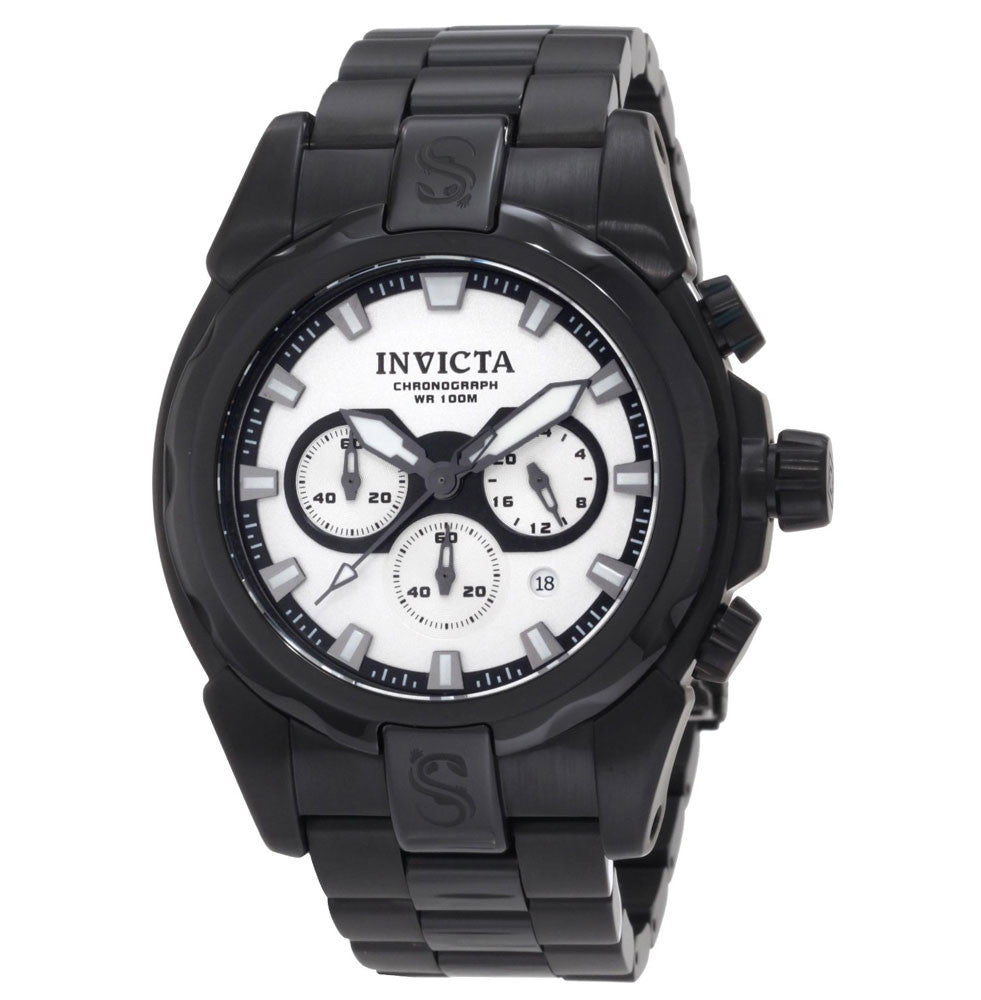 Invicta 1340 Men's Speedway Black Ion Plated White Dial Chronograph Watch