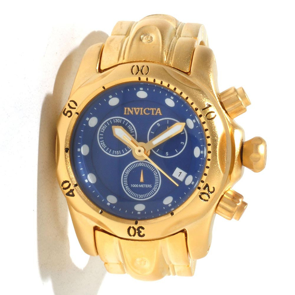 Invicta 13810 Miniature Venom Gold Plated Stainless Steel Blue Dial Desk Clock