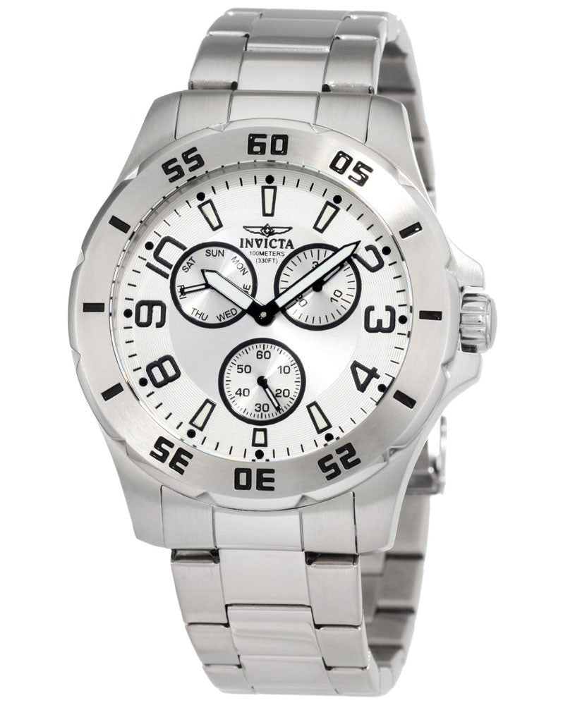 Invicta 1441 Men's Stainless Steel Silver Dial 100M WR Watch