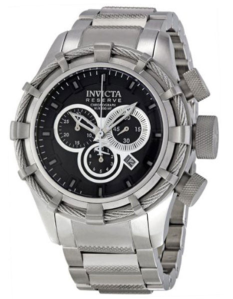 Invicta 1444 Men's Reserve Bolt Chronograph Stainless Steel Black Dial Watch