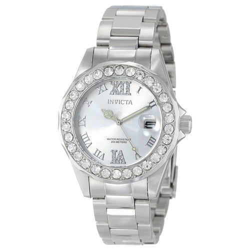 Invicta 15251 Women's Pro Diver Crystal Accented Bezel Silver Dial Steel Bracelet Dive Watch