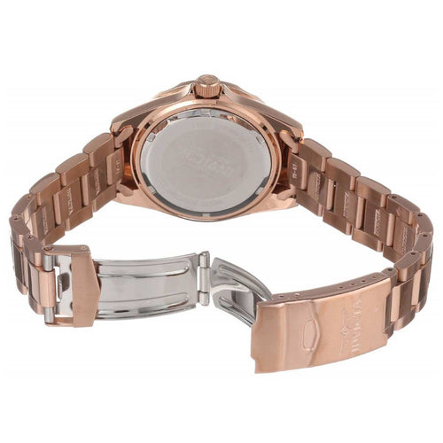 Invicta 15253 Women's Pro Diver Rose Gold Dial Rose Gold Plated Steel Bracelet Crystal Dive Watch
