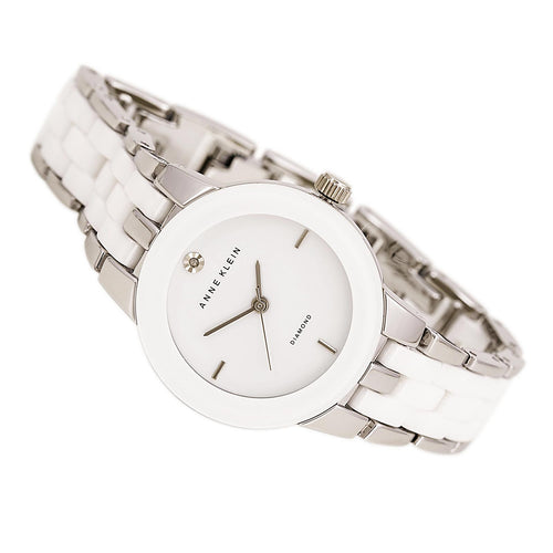 Anne Klein 1611WTSV Women's Diamond Accented White Dial Steel & Ceramic Bracelet Watch