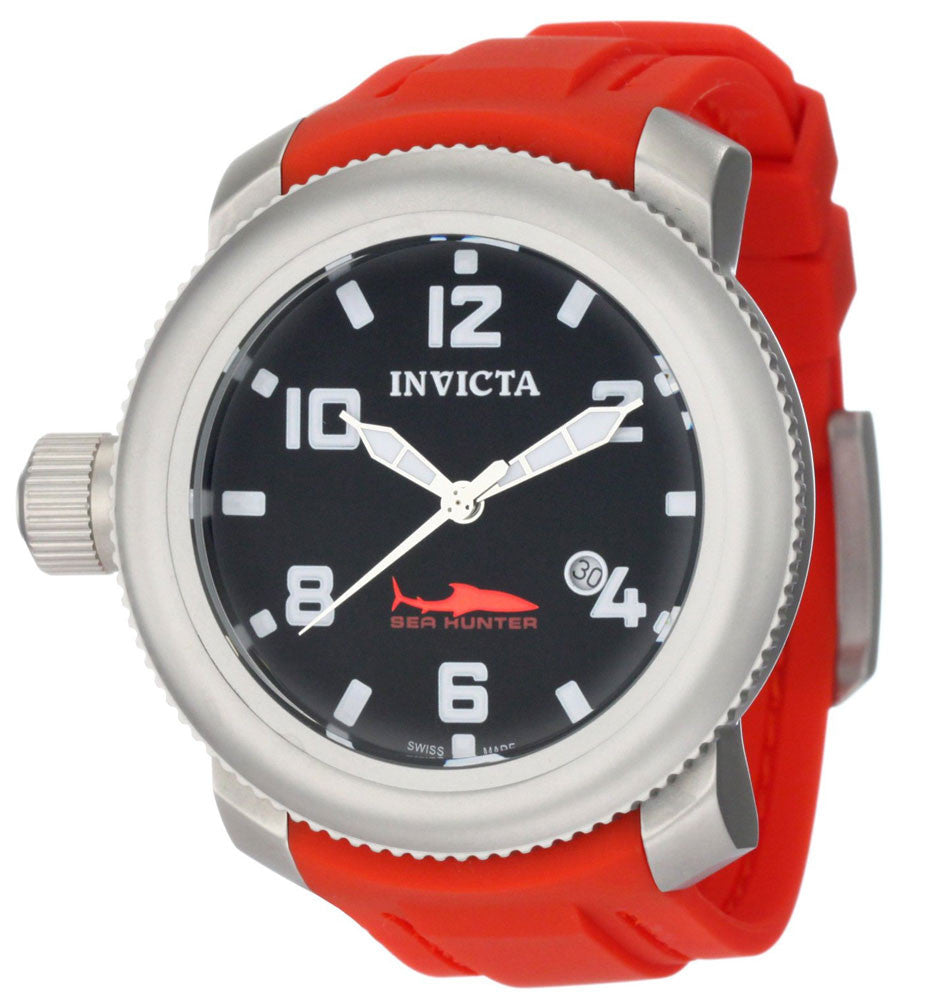 Invicta 1691 Men's Sea Hunter Red Rubber Strap Black Dial Watch