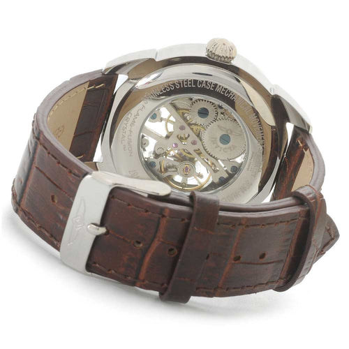 Invicta 17187 Men's Specialty Skeleton Silver Dial Brown Leather Strap Watch