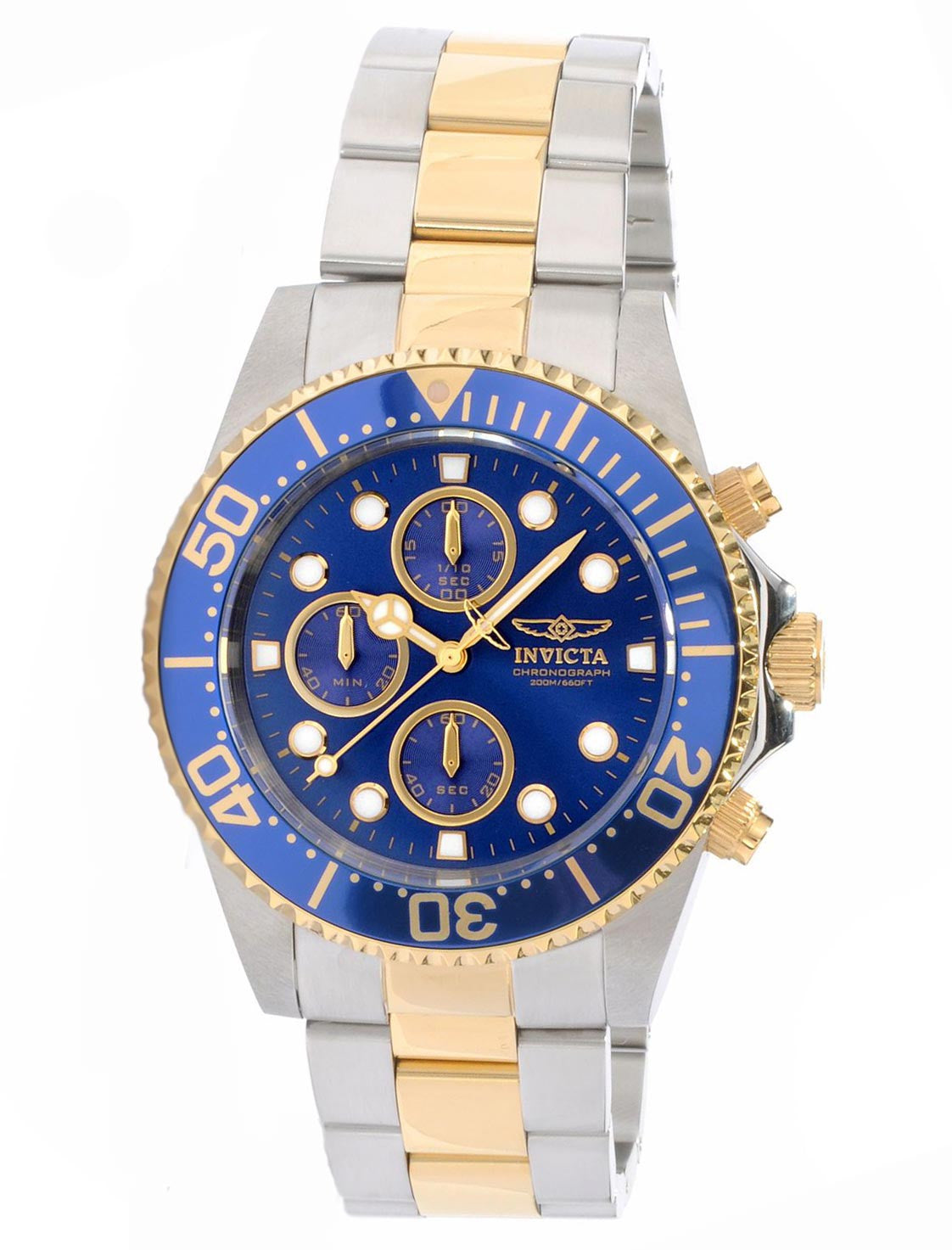 Invicta 1773 Men's Pro Diver Two Tone Blue Dial Coin Edge Bezel Chronograph Watch