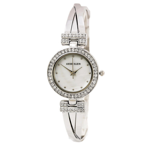 Anne Klein 1869SVST Women's MOP Dial Swarovski Crystal Accented Silver Tone Bangle Bracelet Watch Set