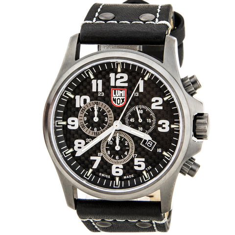 Luminox 9427 Men's Air P-38 Lightning 9420 Series Black Dial Brown Leather Strap GMT Dive Watch