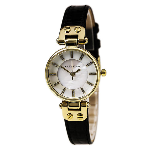 Anne Klein 1950MPBK Women's Mother of Pearl Dial Black Leather Strap Watch