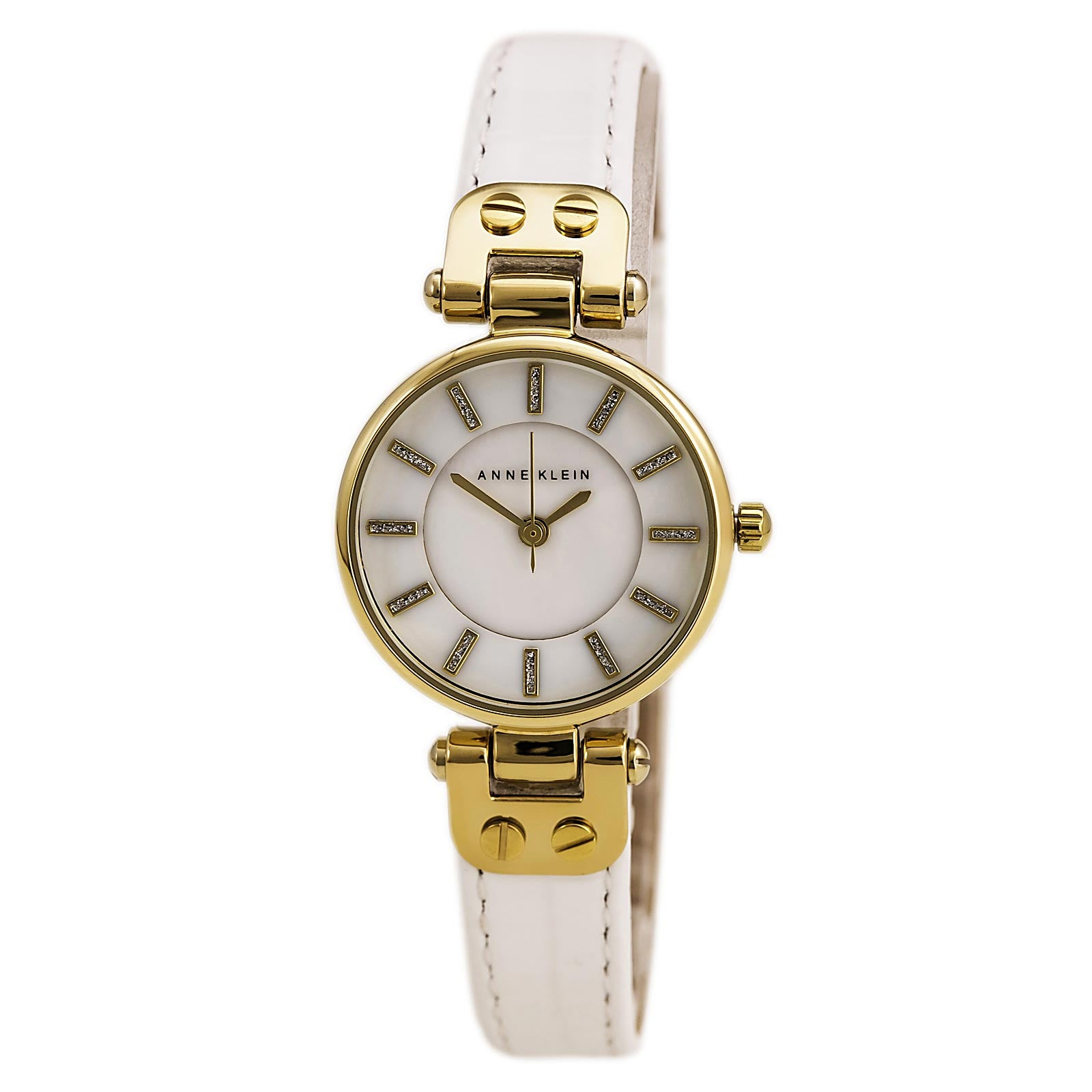 Anne Klein 1950MPWT Women's Mother of Pearl Dial White Leather Strap Watch