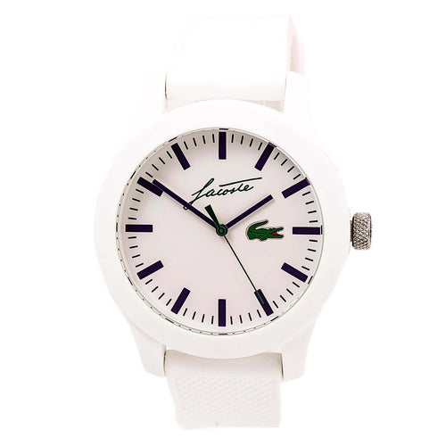 Lacoste 2010861 Unisex L 12.12 White Dial White Silicone Strap Watch