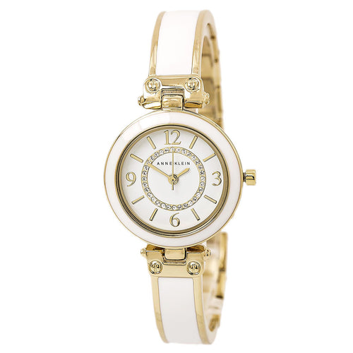 Anne Klein 2016WTST Women's Swarovski Crystal Accented White Dial Bangle Bracelet Watch Set