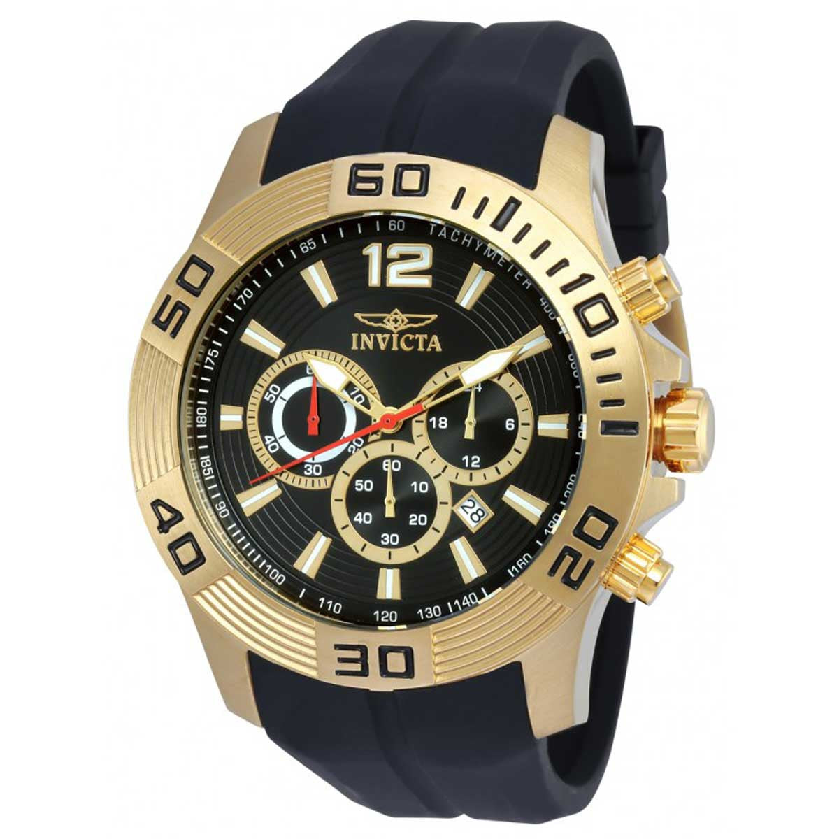 Invicta 20300 Gent's Black Dial Black Silicone Strap Chrono Watch 20300