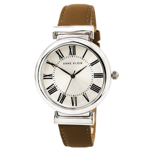Anne Klein 2137SVDT Women's Silver Tone Dial Brown Leather Strap Watch