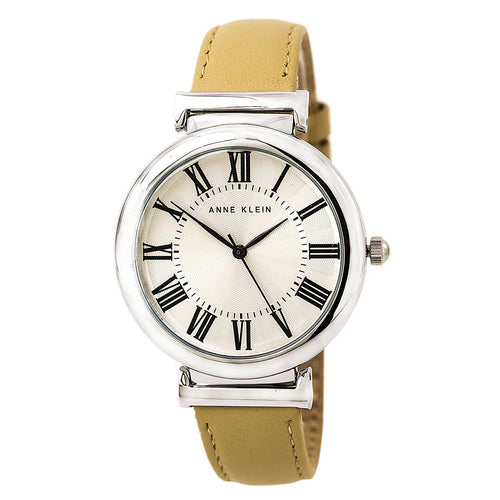 Anne Klein 2137SVTN Women's Silver Tone Dial Beige Leather Strap Watch