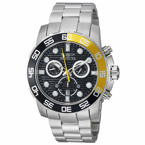 Invicta 21553 Men's Pro Diver Black & Yellow Accented Bezel Black Dial Steel Chronograph Watch