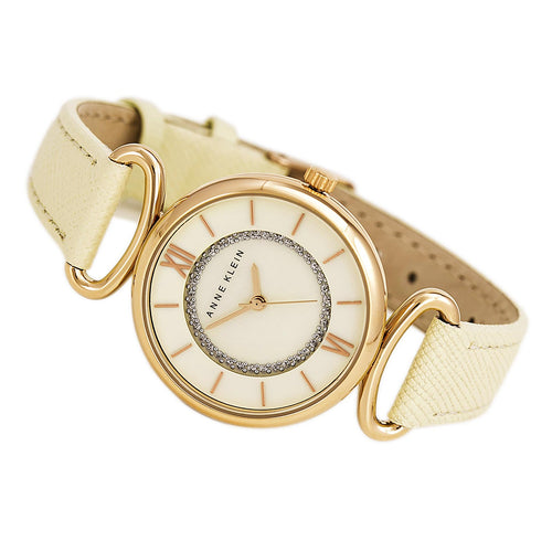 Anne Klein 2192RGIV Women's Crystals Accented White MOP Dial Beige Leather Strap Watch