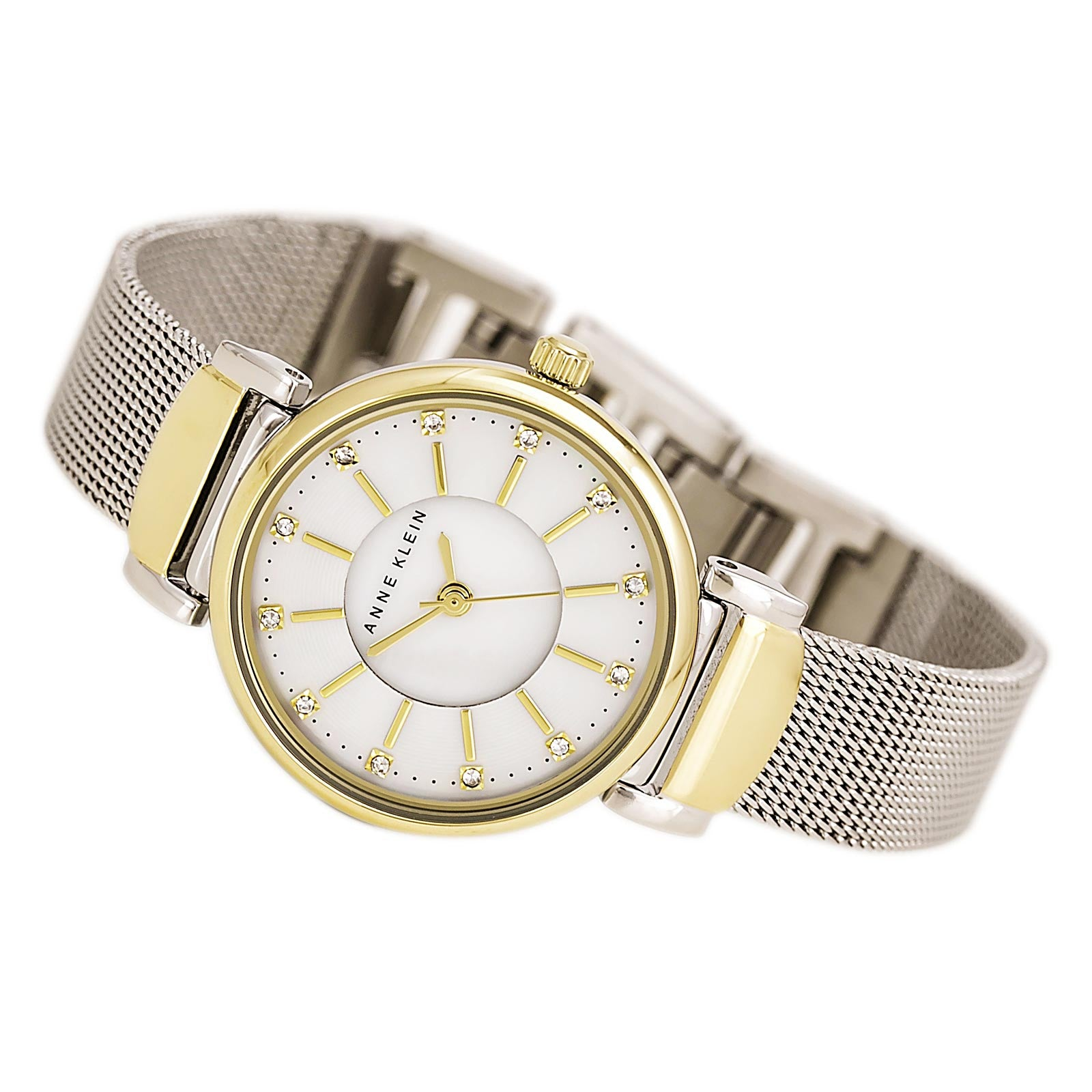 Anne Klein 2203MPTT Women's Crystals Accented White MOP Dial Two Tone Steel Watch