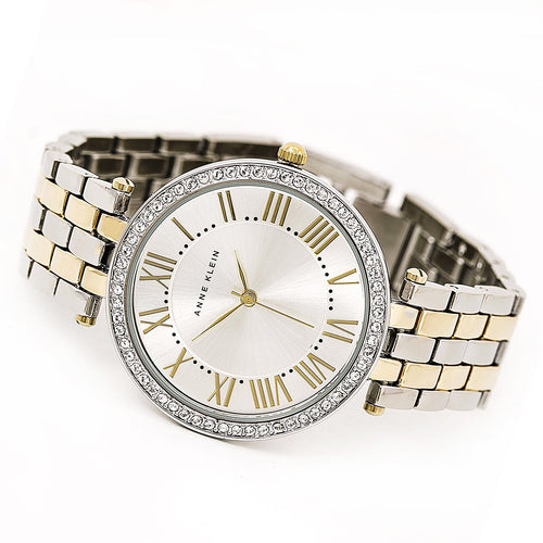 Anne Klein 2231SVTT Women's Swarovski Crystal Bezel Silver Dial Two Tone Steel Bracelet Watch