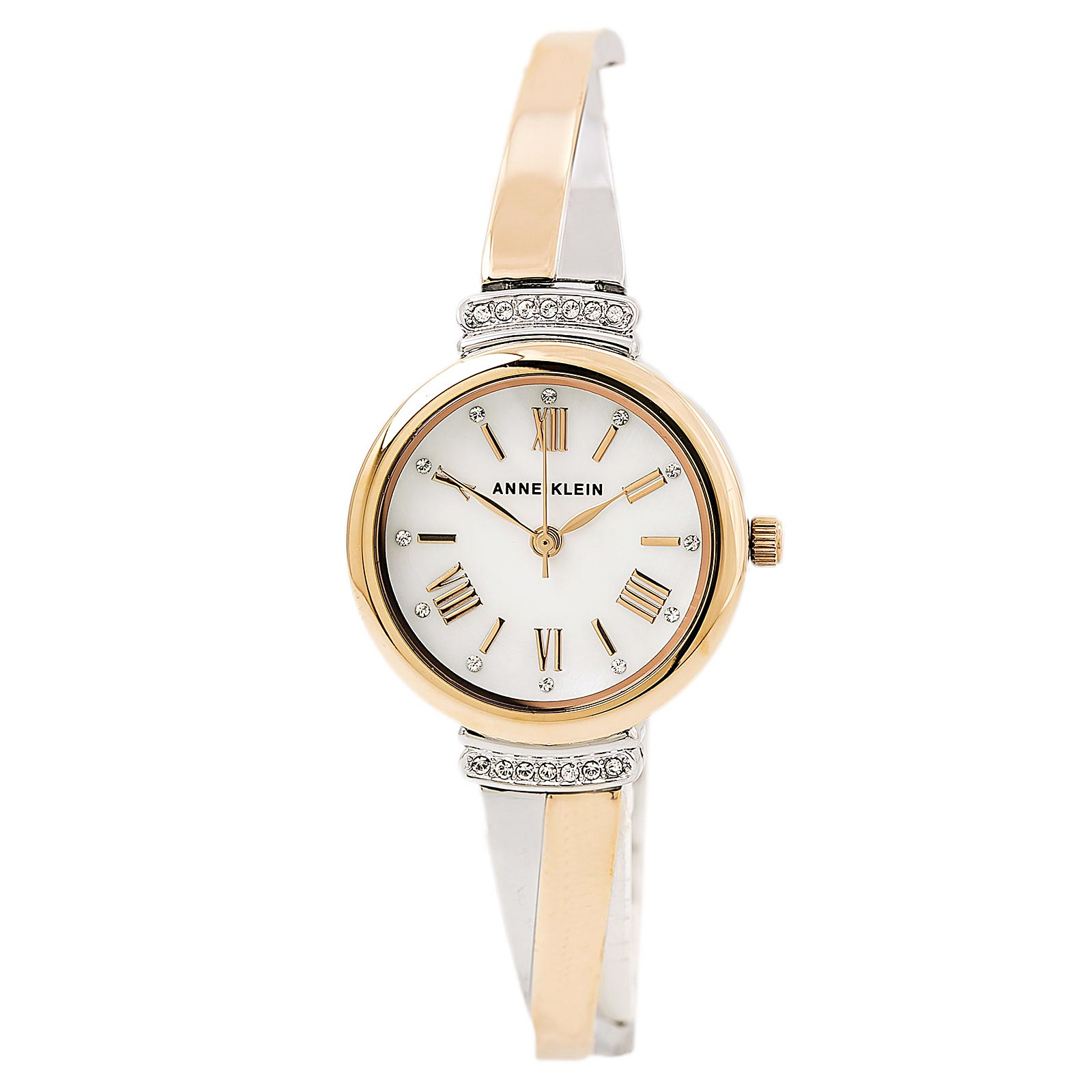 Anne Klein 2245RTST Women's White MOP Dial Two Tone Bangle Bracelet Swarovski Crystal Watch Set