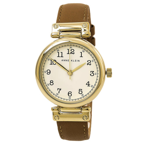 Anne Klein 2252CRDT Women's Easy To Read Beige Dial Dark Tan Leather Strap Watch