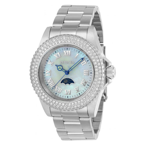 Invicta 23829 Women's Sea Base Crystal White MOP Dial Steel Bracelet Dive Watch