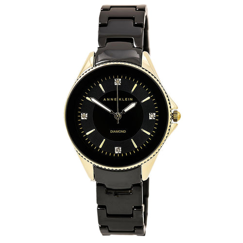 Anne Klein 2390BKGB Women's Diamond Accented Black Dial Black Ceramic Bracelet Watch