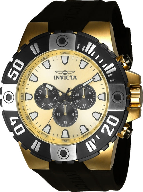 Invicta 23971 Men's Pro Diver Gold & Black Dial Black Polyurethane Strap Watch