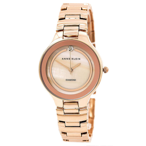 Anne Klein 2412RMRG Women's Diamond Accented MOP Dial Rose Gold Steel Bracelet Watch