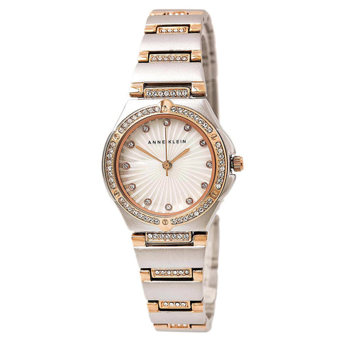 Anne Klein 2417MPRT Women's Swarovski Crystal Bezel MOP Dial Two Tone Rose Gold Steel Watch