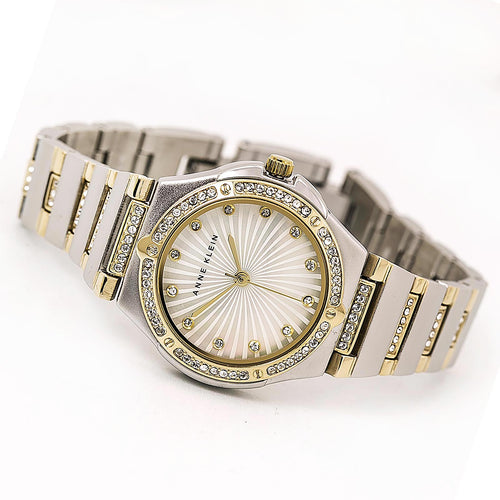 Anne Klein 2417MPTT Women's Swarovski Crystal Bezel MOP Dial Two Tone Yellow Gold Steel Watch