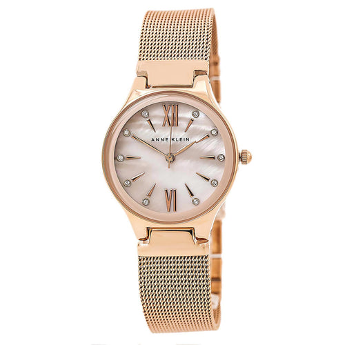 Anne Klein 2418BMRG Women's Swarovski Crystal White MOP Dial Rose Gold Mesh Bracelet Watch