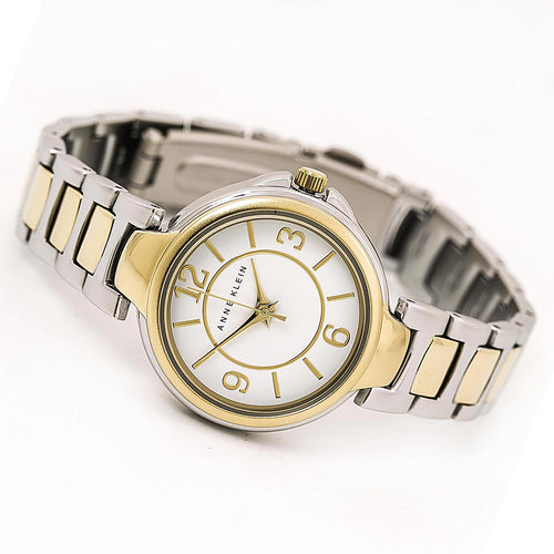 Anne Klein 2431WTTT Women's White Dial Two Tone Yellow Gold Steel Watch